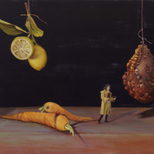 Untitled (lemons, carrots, man, gourd), 2006, Oil on board, 50x75cm