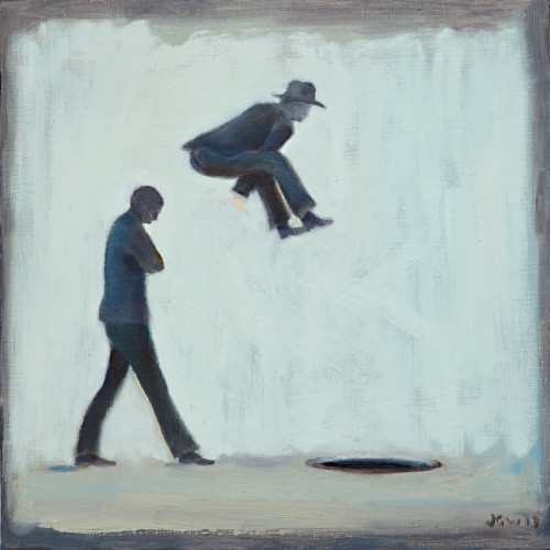 We're bringing back 600 Bank Managers, 2014, Oil on board, 30x30cm
