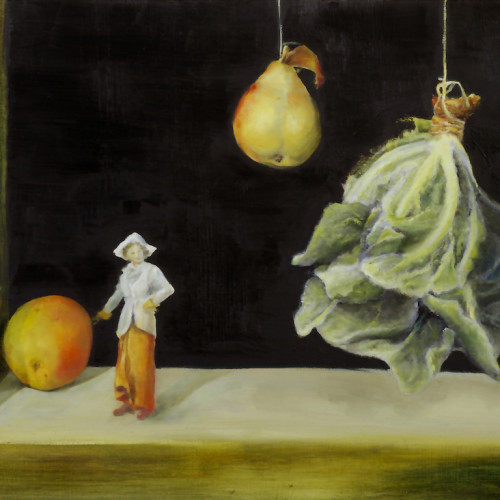 Untitled (apple, lady, pear, lettuce), 2006, Oil on board, 40x60cm